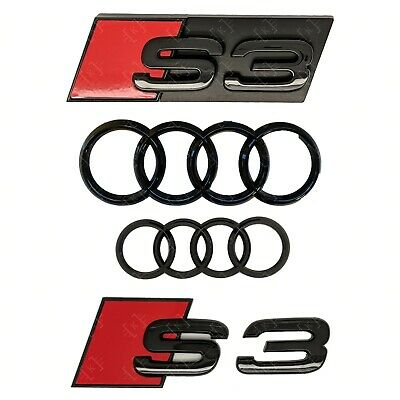 Audi S3 + Rings Gloss Black Grille & Boot Badge Emblem Set - Full Black Out Set