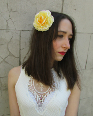 Lemon Light Yellow Camellia Flower Hair Clip Fascinator Rose Floral Boho 7400
