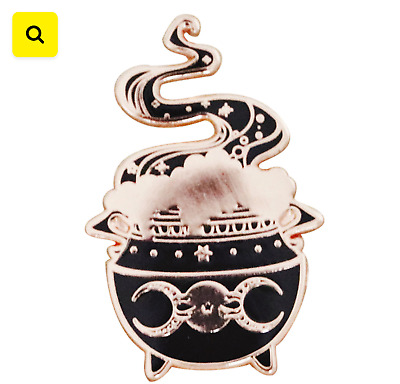 Witches Cauldron Gold Tone Enamel Pin: Halloween / Witch Gifts