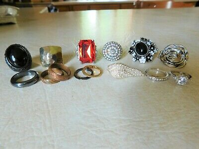 14 Vintage to Now costume ring lot  2 RLM STUDIO BRASS  2 Copper  2 CZ & more