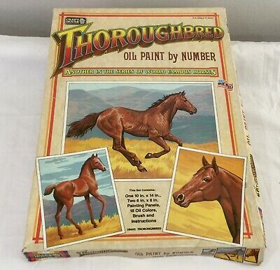 Vintage Craft House Oil Paint By Number Thoroughbred Horse 18602 Made In USA