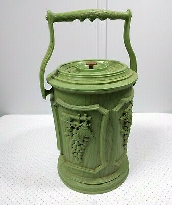 Vintage Brentwood Plastic Wood Grapes Green Craft Sewing Storage Ice Bucket