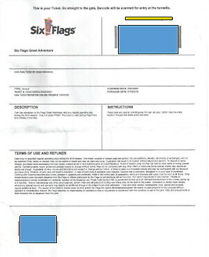 Six Flags Ticket - Good at Six Flags in Jackson NJ