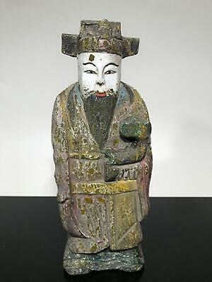 Antique Painted Japanese Asian Chinese Wise Man Wood Art Carving Statue Figurine