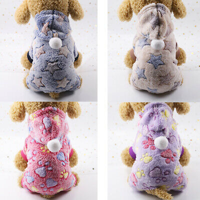 Soft Flannel Button Pet Dog Cat Clothes Winter Warm Stars Dog Claws Hooded Coats