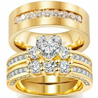 Yellow Gold Filled Couple Rings CZ Titanium Steel Mens Womens Wedding Ring Sets