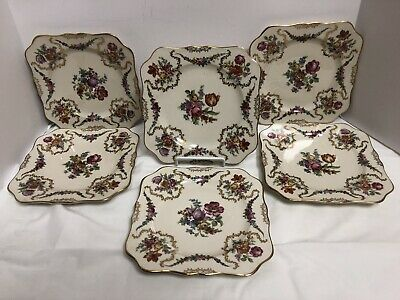 Antique Beautiful Porcelain Dresden Style Flowered Roses Plates 7 Set