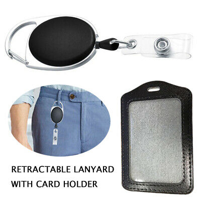 Security Black Retractable ID Card Holder Business AU STOCK