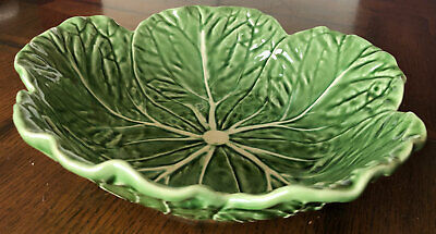 "Bordallo Pinheiro 11.5"" Green Cabbage Leaf Salad Serving Bowl Made in Portugal"