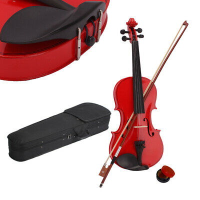 Red Basswood 4/4 Size Acoustic Violin Fiddle w/ Case Bridge Bow Rosin