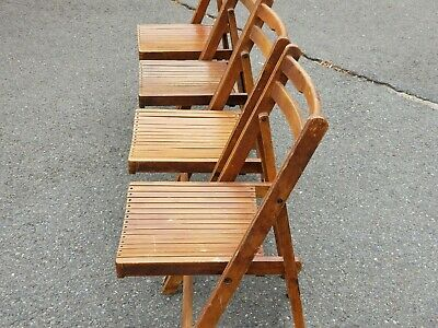 DOUBLE SLAT BACK Folding Stackable Wood CHAIR YUGOSLAVIA MID CENTURY MODERN