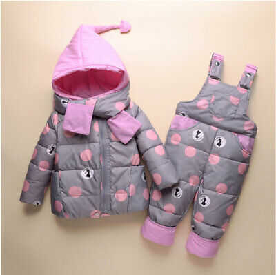 New Kids Boys Girls Toddler Snow Ski suit Puffer Coat Hooded Down Jacket Outfits