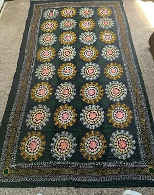 Old Large Original Vintage  Rare Embroidery Uzbek Bedcover Wall Hanging Suzani