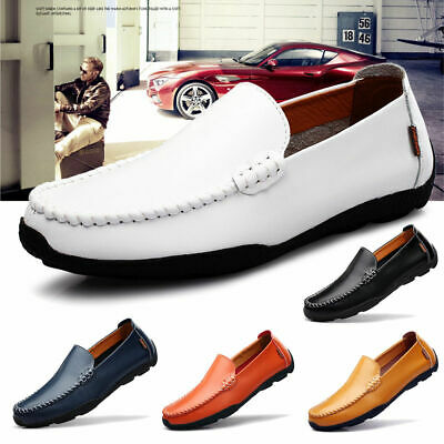 AU Men's Leather Driving Casual Boat Business Loafers Soft Moccasin Comfy Shoes