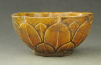 Chinese old hand-carved yellow glaze porcelain Lotus-shaped grain bowl b01