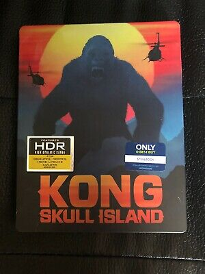 Kong Skull Island 3D Ultra 4K Blu Ray 3 Disc Steel Book Only @ Best Buy Edition