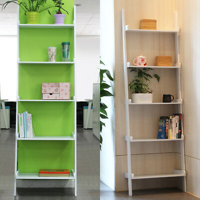 5 Tiers White Ladder Wall Shelving Home Storage/Display Unit Bookcase Stand