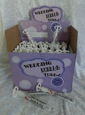 24 x Wedding Bubbles Tubes with Double Hearts & Liquid with Personalised Labels