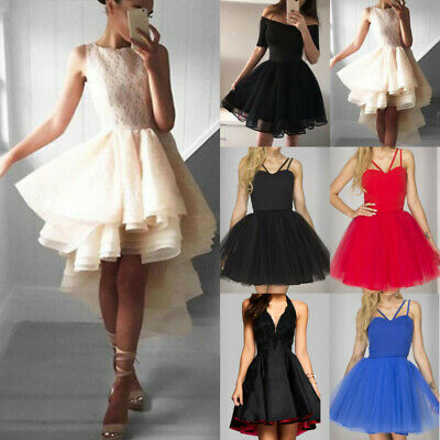 Women Formal Strappy Short Tulle Tutu Dress Wedding Evening Party Prom Ball Gown