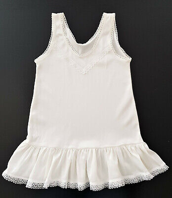 VINTAGE 1960's BABY GIRL or REBORN DOLL'S PETTICOAT, WHITE w LACE TRIM