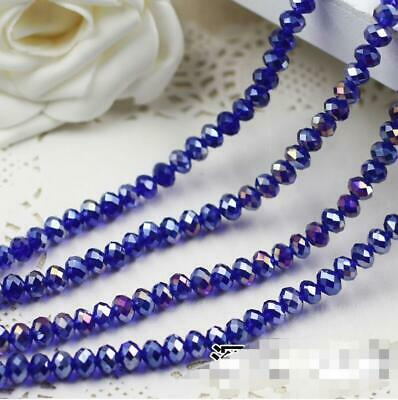 Faceted Rondelle Bicone Glass Crystal Loose Beads Assorted 6mm 49pc dark blue AB