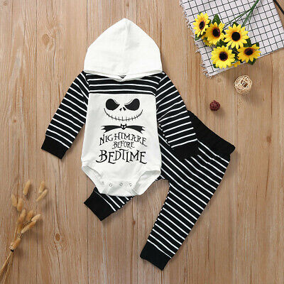 Newborn Infant Baby Boy Girl Striped Hooded Romper Pants Halloween Outfits Set