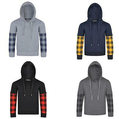 Kids Jumper Hooded Checked Layered Sleeve Inner Fleece Top Side Pockets 3-14 Y