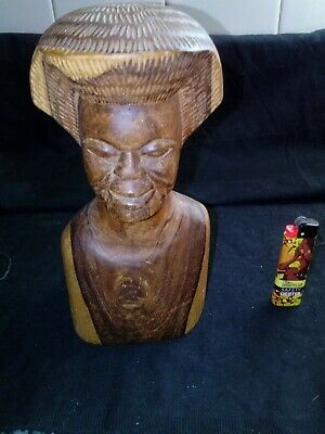 carved wooden african womans bust