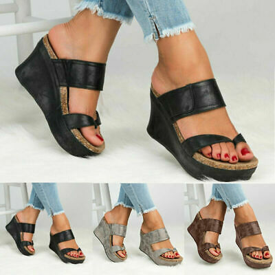 Women Slip On Wedge Sandals Platform Heels Slippers Clip Toe Flip Flops Shoes