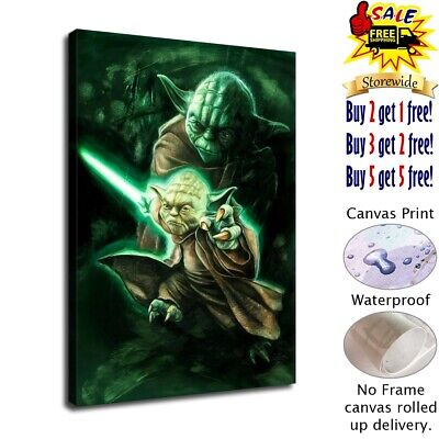 star wars Master Yoda HD Canvas prints Home Decor Wall art picture 12X16inch