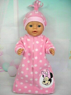 """Dolls clothes for 17"""" Baby Born doll~MINNIE MOUSE PINK/WHITE SPOTS SLEEPING BAG"""