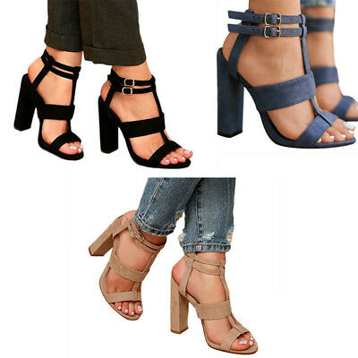 Women High Heel Block Sandals Ladies Open Toe Ankle Buckle Strap Gladiator Shoes