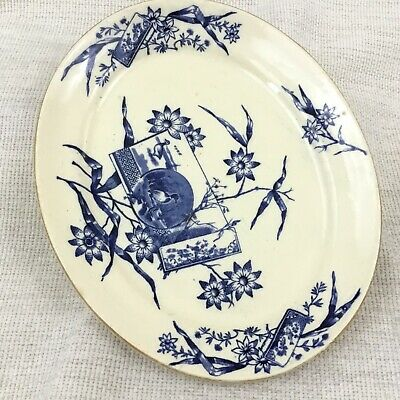 Antique Serving Plate Platter Blue White China Victorian Aesthetic Edge Malkin