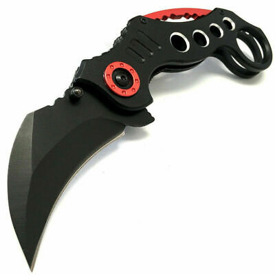 """8"""" Tactical Spring Assisted Open Karambit Pocket Knife Folding Claw Combat EDC"""