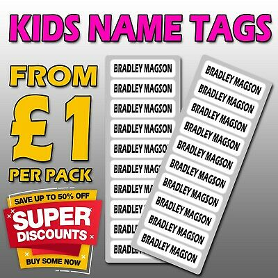 Personalised School Uniform Tags BLACK IRON ON Name Labels Stickers Kids Clothes