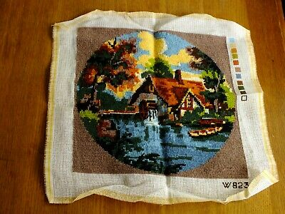 Country Cottage / Watermill Completed Woolen Tapestry.