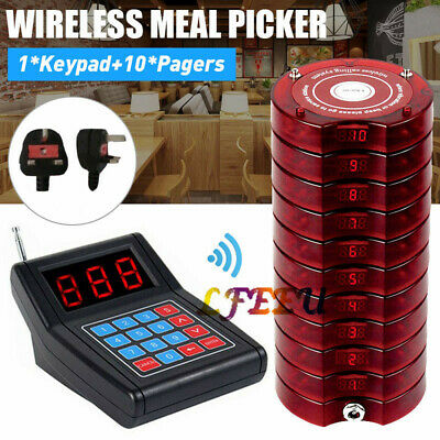 Restaurant Wireless Calling Paging Queuing System 1*Transmitter&10*Coaster Pager