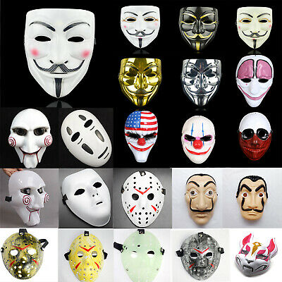 Halloween Party Cosplay Costume V for Vendetta Joker Ninja Face Mask Fancy Dress