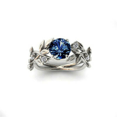 Creative Jewelry Leaves Flower Cubic Zirconia Ring for Wedding Engagements