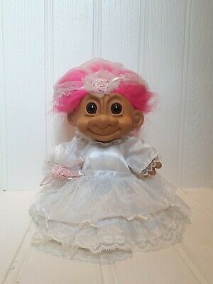 "Large Russ Troll Doll 9"", Bride / Wedding, Retro Vintage 90s Toy"