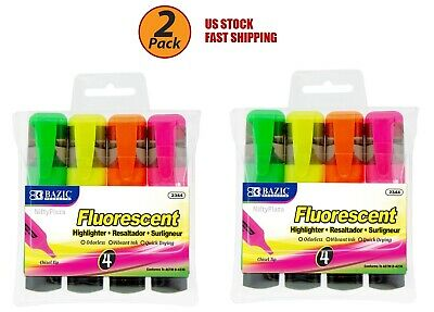 2 Pack - Fluorescent Highlighters With Pocket Clip Chisel Tip, Assorted Color