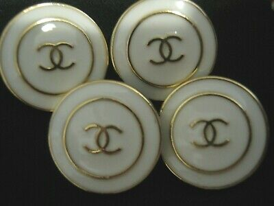 Chanel 4 buttons  18mm lot of 4 WHITE GOLD CC