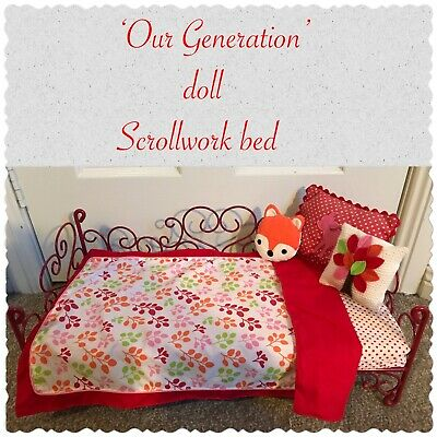 Our Generation Doll Red Metal Scrollwork Bed * EUC * Original Bedding!