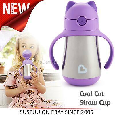 Munchkin Kid's Cool Cat Stainless Steel Straw Drink Cool/Hot Cup¦Purple¦240ml