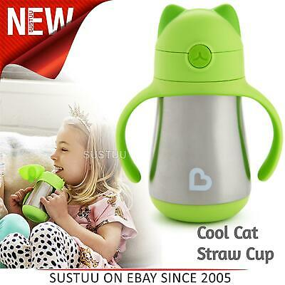 Munchkin Kid's Cool Cat Ear Stainless Steel Straw Drink Cool/Hot Cup¦Green¦240ml
