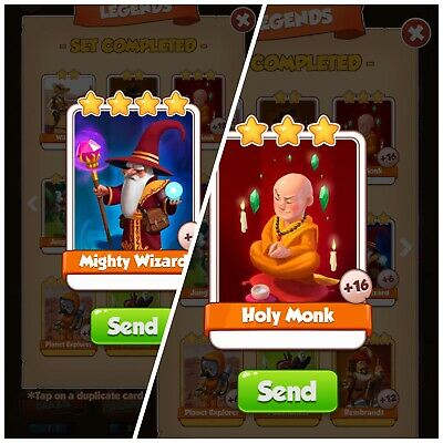 Coin Master Cards Holy Monk & Mighty Wizard