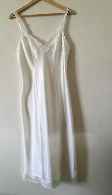 Long Marks And Spencer M&S Glossy Satin And Lace Full Slip ~ Ivory Uk 14