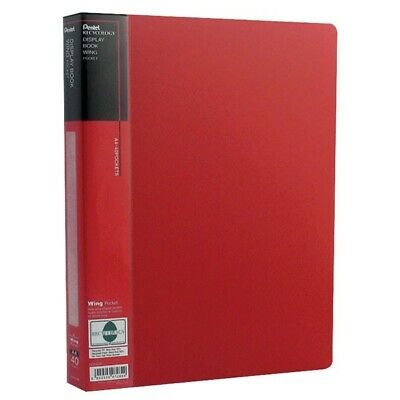 Pentel DCF444B Display Book - Wing Type - Red - 40 Pockets - A4 Size