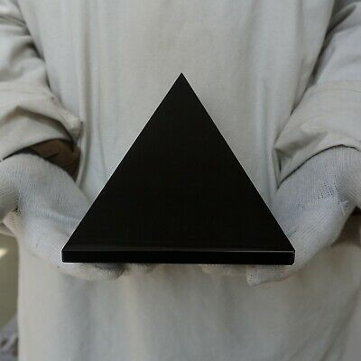 "7.32LB 6.1"" Natural Reiki Energy Charged Black Obsidian Pyramid Crystal Healing"