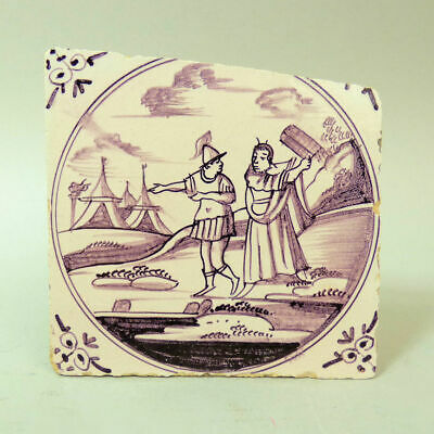 Antique Dutch Delft Manganese Pottery Tile C.1750